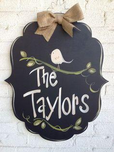 Welcome Sign, Door Art, Door Decor, Hand-Painted, Wreath Painted Doors, Painted Signs, Wood Doors, Hand Painted, Wooden Signs, Burlap Crafts, Wood Crafts, Burlap Door Hangers, Chalkboard Art