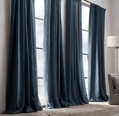 Restoration Hardware Belgian Textured Linen French-Pleat Drapery - Home Decoz Custom Drapes, Curtains With Blinds, Black Curtains Bedroom, Grey Linen Curtains, Long Curtains, Window Drapes, Blue Curtains, Bedroom Windows, Celebrity Houses