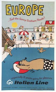 "Original Travel Poster / Europe ""Go Italian Line"" Ship Vintage Ocean Liner Art #Art #Sale"