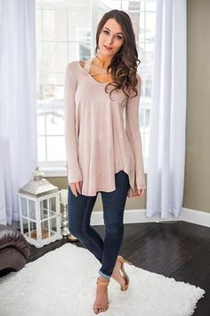 Find Your Way Home X Chest Long Sleeve Top (Dusty Pink) - NanaMacs.com - 1