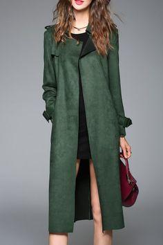 Sweetsmile Deep Green Suede Longline Coat With Belt | Coats at DEZZAL