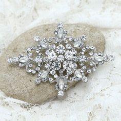 Vintage Victorian Rhombus Silver Tone Diamante Rhinestone Crystal Brooch Pin #Unbranded #VintageVictorian #WeddingPartyChristmasPartyPromAnyParty