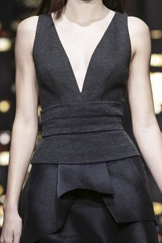 Dress with structured bodice & elegant silk folds; chic fashion details // Donna Karan Fall 2015