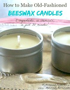 How to make natural beeswax candles with just two simple ingredients. DIY instructions explain which wicks and molds work best, and why I choose not to use essential oils. #beeswax #candles #diycandles #lard