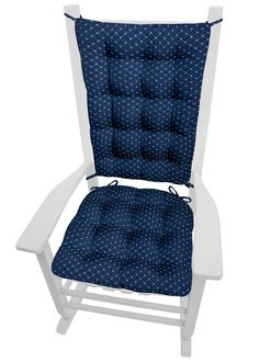 Tiffany Navy Blue Brocade Rocking Chair Cushions Made In The USA By Barnett  Home Decor.