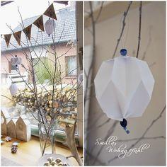 DIY: Origami/Plissee-Anhänger - Smillas Wohngefühl Origami Design, Diy Origami, Diy And Crafts, Creative, Home Decor, Christmas Decor, Paper, Embellishments, Xmas