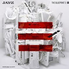 Hip hop album cover for Jay-Zs album THE BLUEPRINT 3. It shows a white sculpture made out of different instruments, and there are 3 red lines painted across it.