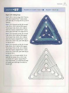 Diy Crafts - Pattern Square Triangle Granny Square Pattern - Knitting and Crochet Crochet Triangle Pattern, Crochet Square Patterns, Crochet Motifs, Crochet Blocks, Crochet Mandala, Crochet Diagram, Crochet Chart, Crochet Squares, Crochet Granny