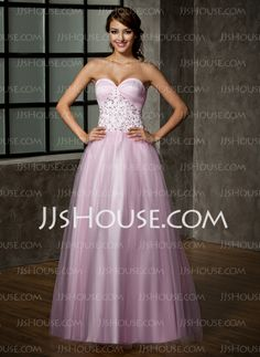 Prom Dresses - $182.99 - A-Line/Princess Sweetheart Floor-Length Satin Tulle Prom Dress With Lace (018005099) http://jjshouse.com/A-Line-Princess-Sweetheart-Floor-Length-Satin-Tulle-Prom-Dress-With-Lace-018005099-g5099