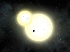 Kepler-1647b (silhouette sombre) devant ses deux soleils; Située dans la constellation du Cygne, à environ 3700 années-lumière de notre Système solaire, Kepler-1647b est une géante gazeuse vraisemblablement un peu plus grande et massive que Jupiter. Ce qui en fait la plus grosse exoplanète circumbinaire découverte à ce jour.Crédit : Lynette Cook