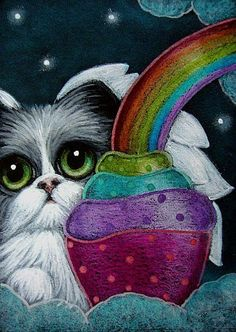 Cat Art...=^.^=...♥ Bicolor Angel Cat with Cupcake by Artist Cyra R.Cancel...