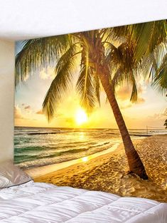 Sunset Seaside Beach Coconut Tree Wall Hanging Decor Tapestry - GOLD W91 INCH * L71 INCH