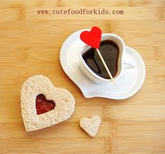 Valentine's sandwich and marshmallow heart for hot chocolate.