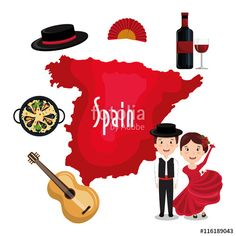 "Download the royalty-free vector ""Spanish culture icons isolated icon design, vector illustration  graphic "" designed by Gstudio Group at the lowest price on Fotolia.com. Browse our cheap image bank online to find the perfect stock vector for your marketing projects!"
