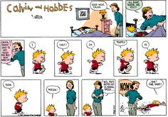 Calvin and Hobbes, April 26, 1987 - I. Can't! I'm. Trapped. In. Slow. Motion!