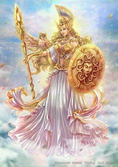 Athena, the Goddess of War by Taweesak Riwsuksan Greek Mythology Tattoos, Greek And Roman Mythology, Greek Gods And Goddesses, Athena Goddess Of Wisdom, Greek Goddess Art, Greek Goddess Mythology, Minerva Goddess, Athena Tattoo, Goddess Tattoo