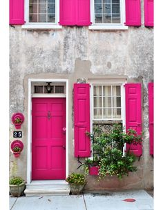 pink doors and windows. I love the colors combined here but do for a bedroom and make that pink the accent color in pillows, lamps, etc.
