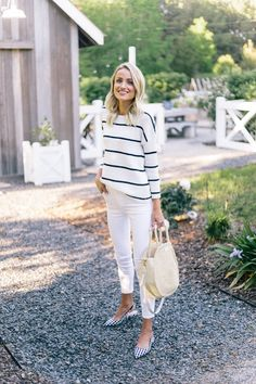 Striped knit sweater, white denim, gingham flats.