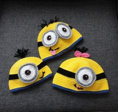 """Crochet by Jennifer's"" free pattern for a crocheted Minion Hat."