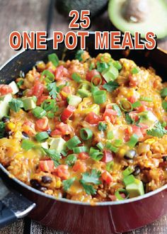 There's nothing like only having one pot to clean after making dinner for the family! Here are 25 ONE POT MEALS that will fill your menu plan for the next 25 days – pin and save for a quick reference!