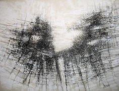 Hommage à Vieira da Silva - Dessin,  60x80 cm ©2010 par Jean Kerinvel -                              Noir et blanc, Abstrait