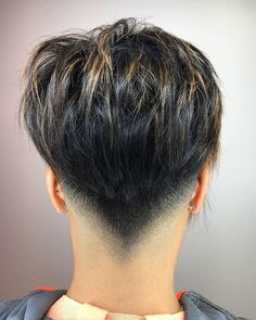 Shorter haircuts are especially common for men, because they are very easy to manage, don't require much maintenance, have very stylish looks, and are suitable for most any situation. Undercut Hairstyles, Pixie Hairstyles, Cool Hairstyles, Edgy Short Hair, Short Hair Cuts, Shaved Nape, Short Pixie Haircuts, Modern Haircuts, Grunge Hair
