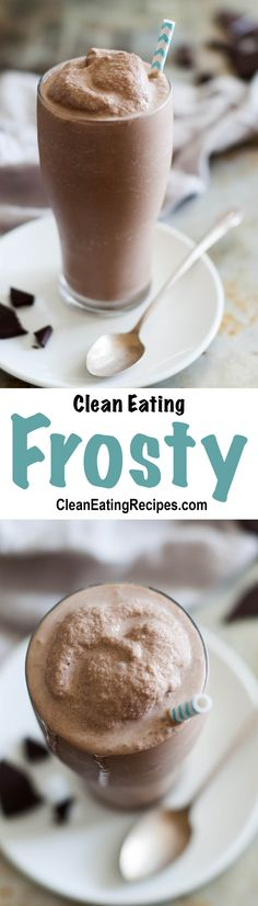 Coconut milk, banana, cocoa powder, vanilla, ice cubes and maybe some honey is all it takes to make this skinny Frosty recipe. All clean eating ingredients are used for this healthy dessert recipe. Weight Watcher Desserts, Brownie Desserts, Irish Desserts, Japanese Desserts, Indian Desserts, Chocolate Desserts, Clean Eating Desserts, Clean Eating Diet, Healthy Eating