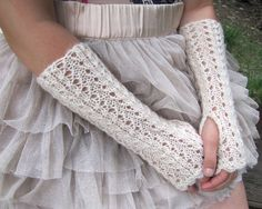 Long Lace Hand knitted Fingerless Gloves in antique by elfinhouse, $29.00