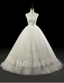 Gorgeous jewel neckline lace appliques A-line puffy skirt sweeping train wedding dresses  5W-237