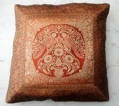 (SKU no: kmic 2021) Maharaja Peacock Design Pillow Case / Cushion Cover with Banarasi Silk Brocade Work, Krishna Mart India
