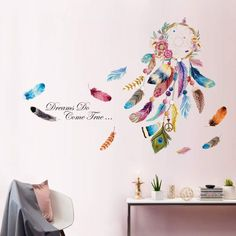 decalmile Dream Catcher Feathers Wall Decals Quotes Dreams Come True Wall Stickers Bedroom Living Room Wall Decor - Buy Online in Saudi Arabia. Sticker Art, Wall Stickers Murals, Wall Decals, Room Wall Decor, Bedroom Decor, Dandelion Wall Decal, Om Sign, How To Hang Wallpaper, Dream Catcher