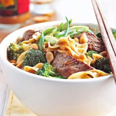 Spicy Beef Noodle Bowl No complicated sauce required for this delicious Asian-inspired dish -- just pick up a bottle of peanut sauce from the market and you'll be set.