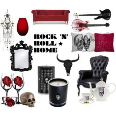 Rock n' Roll by gaias on Polyvore featuring interior, interiors, interior design, casa, home decor, interior decorating, Moooi, Currey & Company, Melody Rose and Kosta Boda