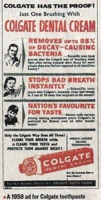 Vintage Ads of stuff still in the market - Colgate toothpaste ad, 1958 :)