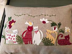 Cat Quilt Patterns, Applique Patterns, Sewing Patterns, Felt Applique, Applique Quilts, Japanese Patchwork, Miniature Quilts, Old Quilts, Diy Pillows