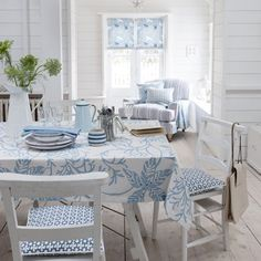 Beach Cottage Dining in pale blues, white, gray and green..can order this fabric. Tablecloth!! Various colors.