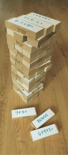 Cool math idea for my girl! She loves Jenga so she'll love this.