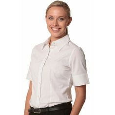 Women`s Cotton/Poly Stretch S/S Shirt Colours : Black Promotional Clothing, Stretch Shorts, S Shirt, Colorful Shirts, Stretches, Colours, Suits, Black And White, Lady