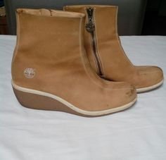 2d968219785bda Women 039 s Timberland Ankle Wedge Zip Up Boots Khaki Leather Size 9M US  STK D5