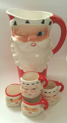 Vintage 1960 Howard Holt Winking Santa Pitcher by CZamore on Etsy Christmas China, Christmas Dishes, Christmas Figurines, Antique Christmas, Christmas Past, Vintage Christmas Ornaments, Retro Christmas, Christmas Items, Vintage Holiday