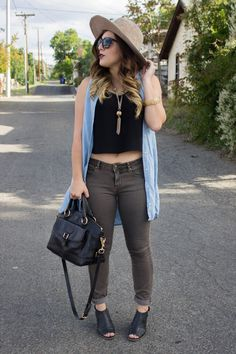 {Chambray Boho - Simply Audree Kate} Bohemian inspired outfit with a chambray vest, gold tassel necklace, and vintage hat