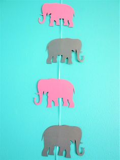 Large Elephant Garland - Elephant Decoration - Baby Shower Decor - Baby Room Decoration by MyMixedMediaCrafts on Etsy