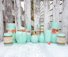 Love this set mismatched glasses painted minty green and embellished with burlap, vintage lace, twine.