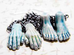 Zombie Mani Pedi Earrings. Peruvian handmade raku ceramic hands and feet for spooky zombie fun!