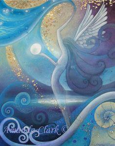 Etsy の A mystical art print titled Angel by earthangelsarts
