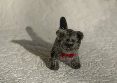 Cat toy needle felted animal collectible wool soft sculpture - redy to ship