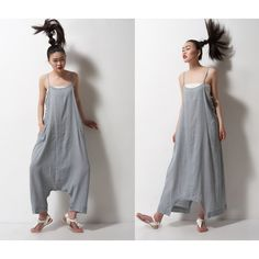 Grey Linen Maxi Dress Pants a Pants a Dress Black Grey Linen Dress ($50) ❤ liked on Polyvore featuring dresses, grey and women's clothing
