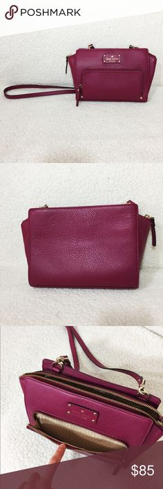 Kate Spade Crossbody/Shoulder Purse • excellent condition, has not been worn, just been sitting in a closet • received as a gift but not really my cup of tea • can be worn as a crossbody as well as over the shoulder • easily fits wallet, book/notebook, pens, keys, make up, feminine hygiene products, and other essentials • lovely and easy to carry around 🤗 kate spade Bags Crossbody Bags