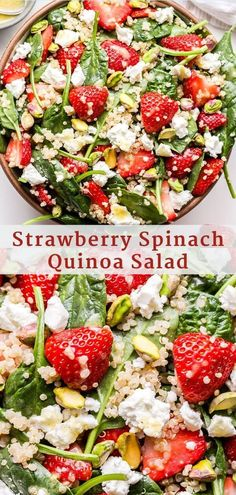This Strawberry Spinach Quinoa Salad is a. This Strawberry Spinach Quinoa Salad is a delicious and healthy salad to make this spring and summer! Loaded with quinoa goat cheese strawberries spinach and pistachios then tossed in a lemon vinaigrette. Spinach Salad Recipes, Chicken Salad Recipes, Healthy Salad Recipes, Vegetarian Recipes, Cooking Recipes, Spinach Quinoa Salad, Vegetarian Quinoa Salad, Quinoa Recipe, Broccoli Cauliflower