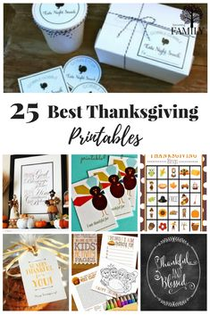 Celebrate Thanksgiving with these free printables - from placement cards, gift boxes and more. Click more to see all 25 ideas.